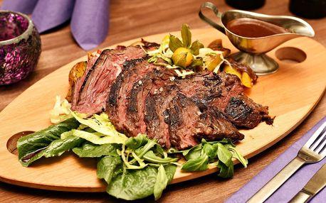 400g hovězí steak s přílohou i omáčkou demi glace