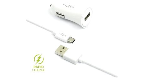 Adaptér do auta FIXED 1x USB, 2,4A + USB-C kabel bílý (FIXCC-UC-WH)