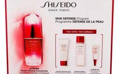 Shiseido Ultimune dárková kazeta proti vráskám pro ženy pleťové sérum 50 ml + čisticí pěna 15 ml + pleťová voda 30 ml + péče o oční okolí 3 ml