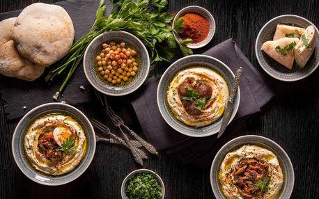 Hummus classic, s houbami či lilkem a vajíčkem