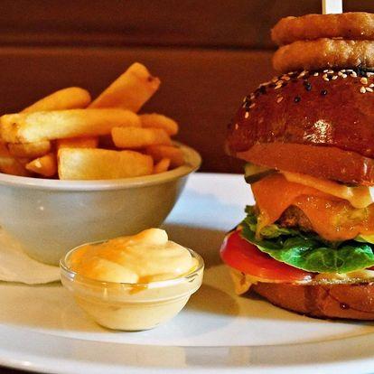 Burger menu dle výběru včetně hranolek a dipu