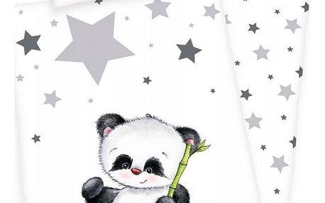 Herding Dětské flanelové povlečení do postýlky Jana Star Panda, 135 x 100 cm, 40 x 60 cm