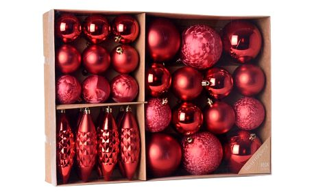 Koopman Sada vánočních ozdob Terme červená, 31 ks