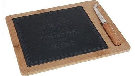Excellent Krájecí prkénko na sýr s nožem Bamboo, 30 x 24 cm