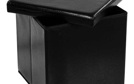 STILISTA 2493 Taburet s úložným prostorem, černý