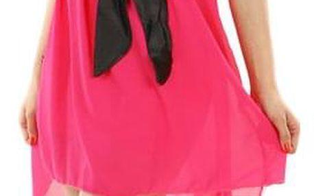 Asymetrické šaty s krajkou růžová