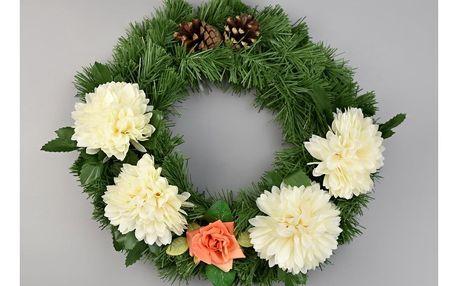 Dušičkový věnec s chryzantémami 30 cm, krémová
