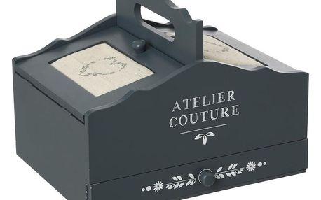 Atmosphera Créateur d'intérieur Kazeta na šití, krabice na šití, dřevěný košík na šicí potřeby, box na šicí potřeby, rozkládací – úložný box, box na drobnosti v stylu VINTAGE