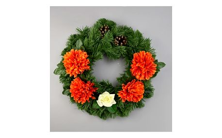 Dušičkový věnec s chryzantémami 30 cm, oranžová