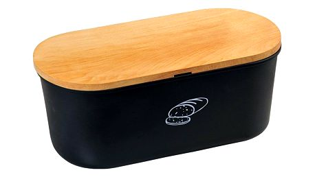 Kesper Černá chlebovka s krájecím prkénkem z bukového dřeva