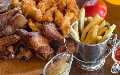 Prkno s kilem masa, hranolky a dipy
