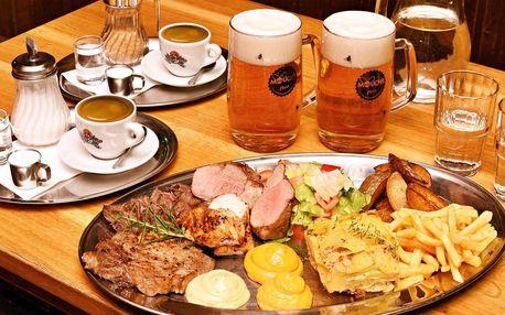 Steak menu pro dva: maso 4 druhů, přílohy i káva