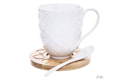 Orion Sada porcelánového šálku s podšálkem a lžičkou Bambu, 2 ks
