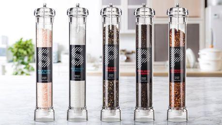 Obří mlýnky s kořením: pepř, chilli i sůl