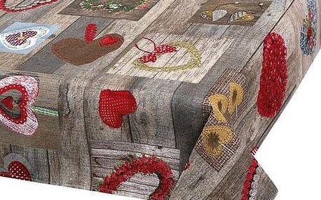Bellatex Ubrus Vánoční srdce, 120 x 140 cm
