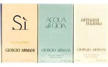Giorgio Armani Mini Set 2 dárková kazeta pro ženy edt Acqua di Gio Pour Femme 5 ml + edp Mania Pour Femme 4 ml + edp Acqua di Gioia 5 ml + edp Si 7 ml+ edp Code Women 3 ml
