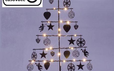 Nexos 67072 Vánoční kovový dekorační strom - černý, 25 LED, teple bílá