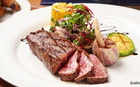 Steak dle výběru ze 3 druhů masa nebo burger