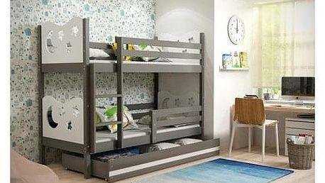 Dětská patrová postel MIKO 200x90 cm Bílá Šedá