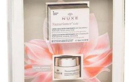 NUXE Nuxuriance Gold Nutri-Fortifying Oil-Cream dárková kazeta proti vráskám pro ženy denní pleťová péče 50 ml + péče o oční okolí Radiance Eye Balm 15 ml