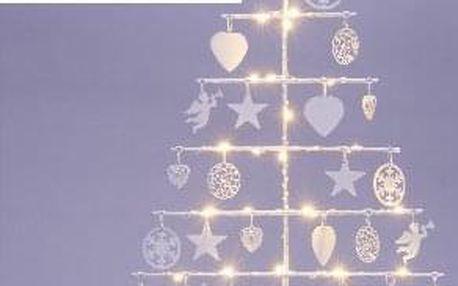 Nexos 64264 Vánoční kovový dekorační strom - bílý, 25 LED, teple bílá