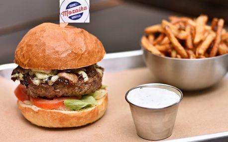 Hovězí nebo vege burger, hranolky a dip