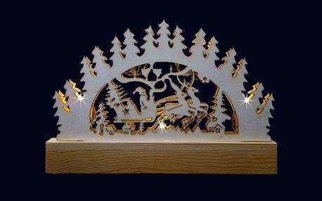 Vánoční dekorace - dřevěný svícen s žárovkami na baterky